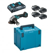 Makita 198818-2 Power Source Kit inc 4x 5.0Ah Batts With Free Brushless DGA454Z Grinder