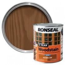 Ronseal 5 Year Woodstain - Natural Oak (Satin) 750ml