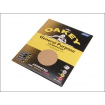 Oakey OAK58286 Sandpaper Sheets - Assorted - Pack Of 5