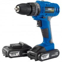 Draper Storm Force Cordless Hammer Drill with 2 LI-ION Batteries - 18V