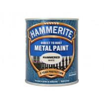 Hammerite Direct To Rust Metal Paint - Hammered White - 750ml