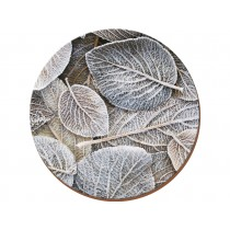 Creative Tops Frosted Leaves Round Premium Placemats - Pack of 4