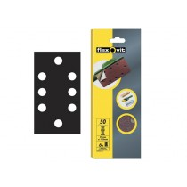 Flexovit 1/3 Sanding Sheets - 93 x 185 mm - Quick Release Medium 80g (6)
