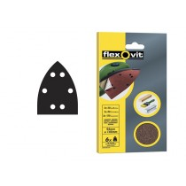 Flexovit Detail Hook & Loop Sanding Sheets - 105mm x 175 mm - Medium 80g (6)
