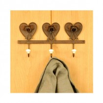 Adobe 3 Heart Coat Hook With Enamel