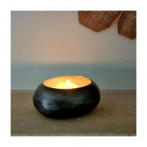 Adobe Avocado Oval Pebble Tealight Holder (Gold) Small
