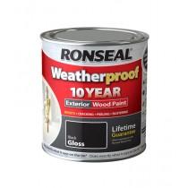 Ronseal Weatherproof Wood Paint - Black (Gloss) 2.5L