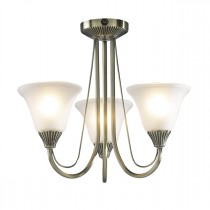 DAR BOS03 Boston 3lt Semi Flush Ceiling Light - Antique Brass
