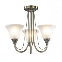 DAR BOS03 Boston 3lt Semi Flush Ceiling Light - Antique Brass