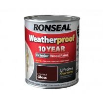 Ronseal Weatherproof Wood Paint - Chestnut (Gloss) 750ml