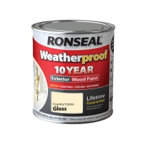 Ronseal Weatherproof Wood Paint - Country Cotton (Gloss) 750ml