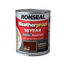 Ronseal Weatherproof Wood Paint - Dark Oak  (Gloss) 750ml