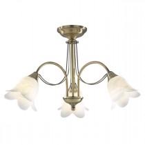 DAR DOU0375 Doublet 3lt Semi Flush Ceiling Light - Antique Brass