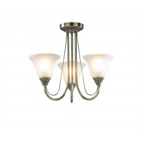 Dar Lighting BOS03 Boston 3 Light Semi Flush - Antique Brass - Complete With Glass