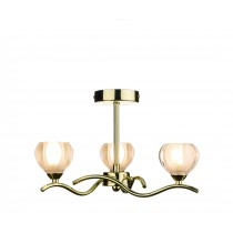 Dar Lighting CYN0340 Cynthia 3 Light Semi Flush - Polished Brass