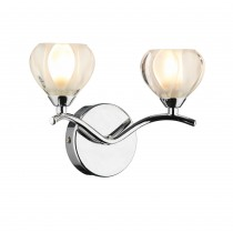 Dar Lighting CYN0950 Cynthia Double Wall Bracket - Polished Chrome Switch