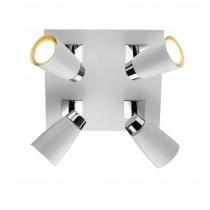 Dar Lighting LOF852 Loft 4 Light Square Plate - Polished Chrome and Matt White