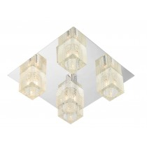 Dar Lighting OSW5450 Oswald 5 Light Flush - Polished Chrome - Complete With TRO19 Glass