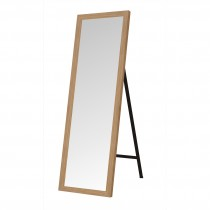 De Vielle (DEV764438) Brass Effect Trim Free Standing Floor Mirror - Oak