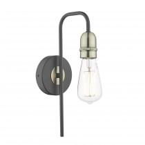DAR KIE0722 Kiefer Single Wall Light - Black & Antique Brass