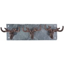 Fallen Fruits (LH184) Cast Iron Stag Antler Hooks & Slate Wall Plate