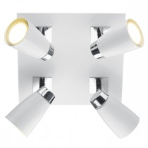 DAR LOF852 LOFT 4lt Square Plate - Polished Chrome & Matt White