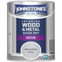 Johnstone's Interior Quick Dry Satin - Manhattan Grey - 750ml