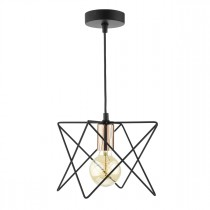 DAR MID0122 Midi 1 Light Ceiling Pendant - Matt Black & Bright Copper
