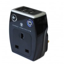 Masterplug Surge Adaptor With USB - Black