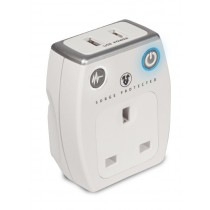 Masterplug Surge Adaptor With USB - White