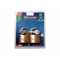 Squire LP10T Leopard Brass Padlocks - 50mm - Pack of 2 - Keyed Alike