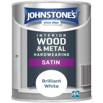 Johnstone's Interior Hardwearing Satin - Pure Brilliant White - 750ml
