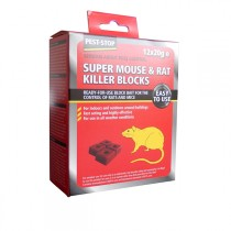 Pest Stop (PSWB01) Super Mouse & Rat Killer Wax Blocks 12x20g