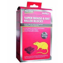 Pest Stop (PSWB02) Super Mouse & Rat Killer Wax Blocks 24x20g