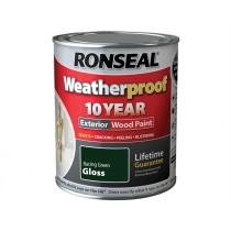 Ronseal Weatherproof Wood Paint - Racing Green  (Gloss) 750ml