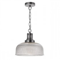 DAR TAC0161 Tack 1lt Glass Ceiling Pendant - Industrial Nickel
