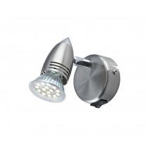 Dar Lighting GEM0746S/LED Gemini Single Wall Bracket - Satin Chrome - LED Lamp Included
