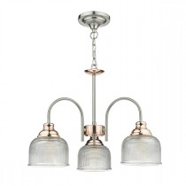 DAR WHA0346 Wharfdale 3lt Ceiling Pendant - Satin Chrome & Copper