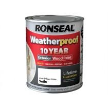Ronseal Weatherproof Wood Paint - Pure Brilliant White  (Satin) 750ml