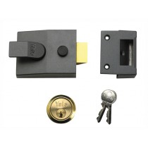 Yale P89 Deadlock Nightlatch - Dark Metal Grey With Brass Cylinder - 60mm Backset