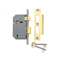 "Yale PM320 3 Lever Mortice Sash Lock - Polished Brass - 67mm (2.5"")"
